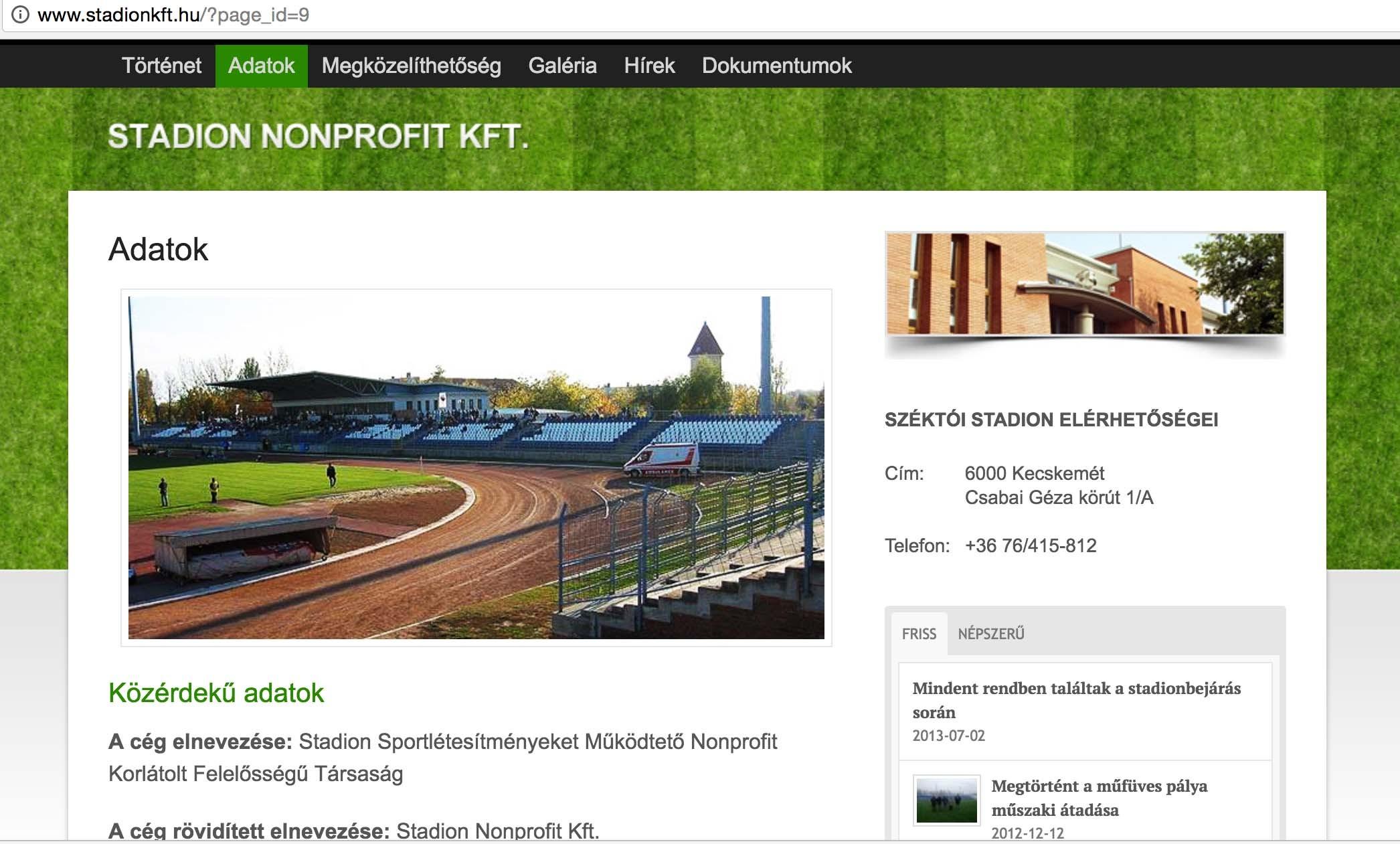 Végelszámolás alatt a kecskeméti Stadion Nonprofit Kft.