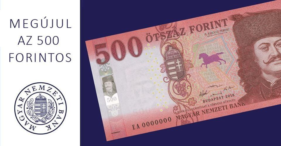 Február 1-jétől jelenik meg a készpénzforgalomban a megújított 500 forintos bankjegy