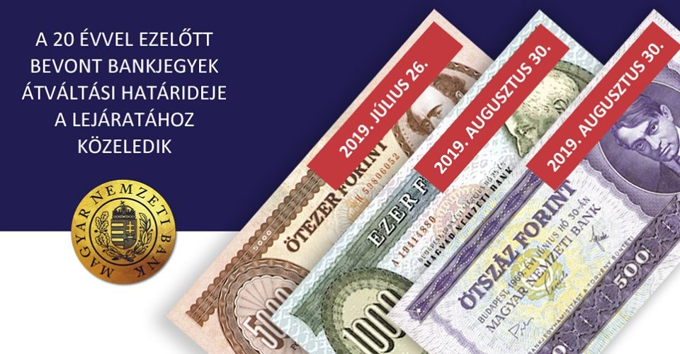 Hamarosan lejár néhány, 20 évvel ezelőtt bevont bankjegy átváltási határideje