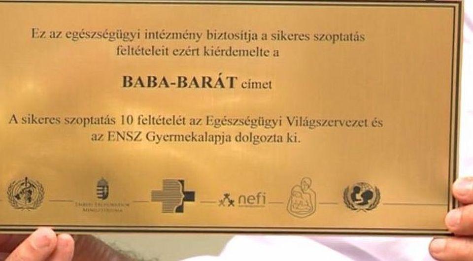 Bababarát kórház címet nyert el a  Szent György Kórház