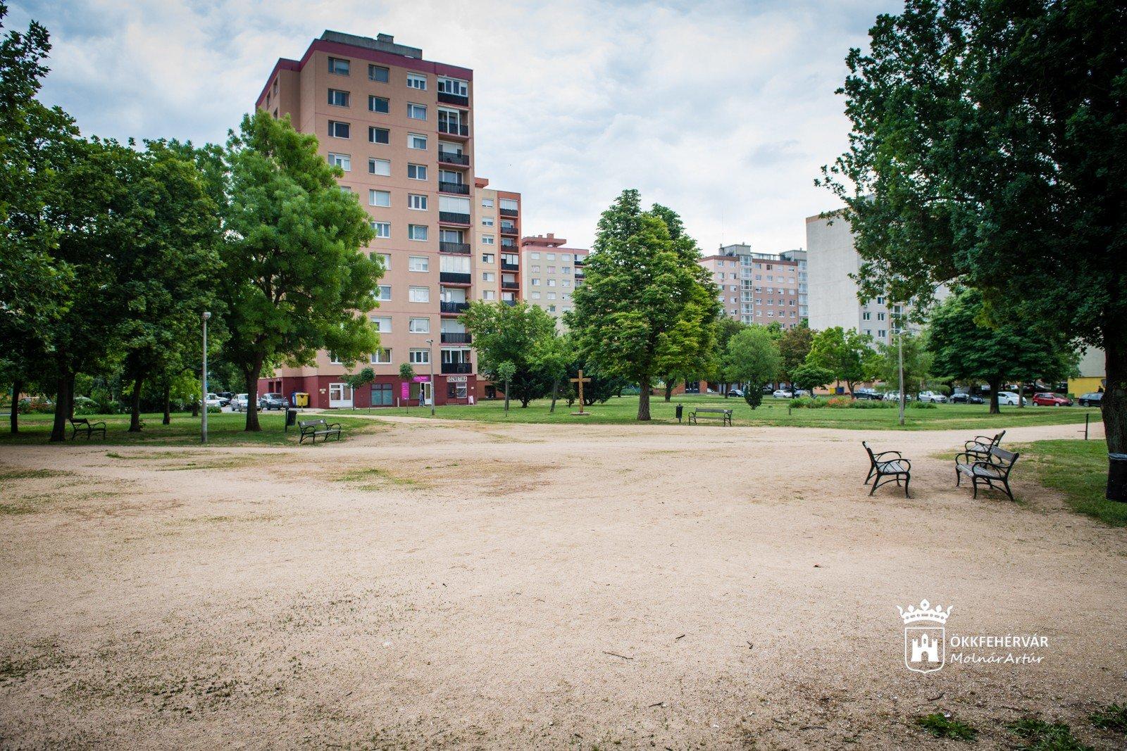Szökőkút, több fa és új virágágyások - kezdődik a parképítés Székesfehérváron