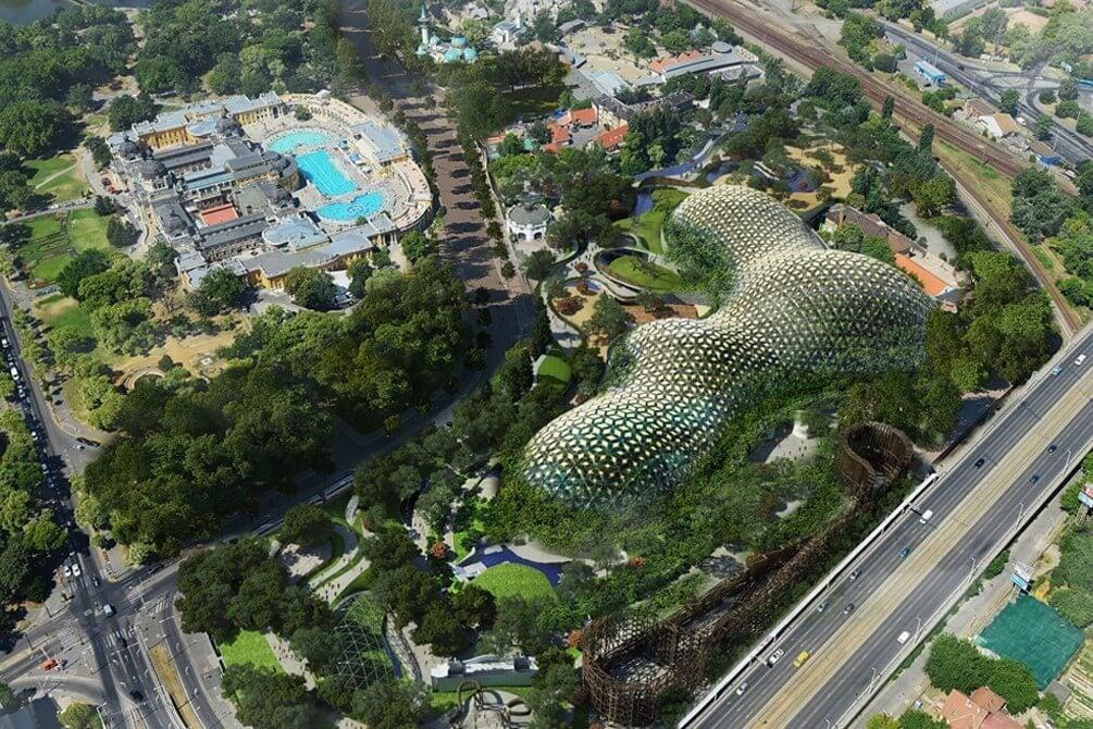 Közel ezer tonna acél térrács alkotja majd az állatkerti biodóm vázát