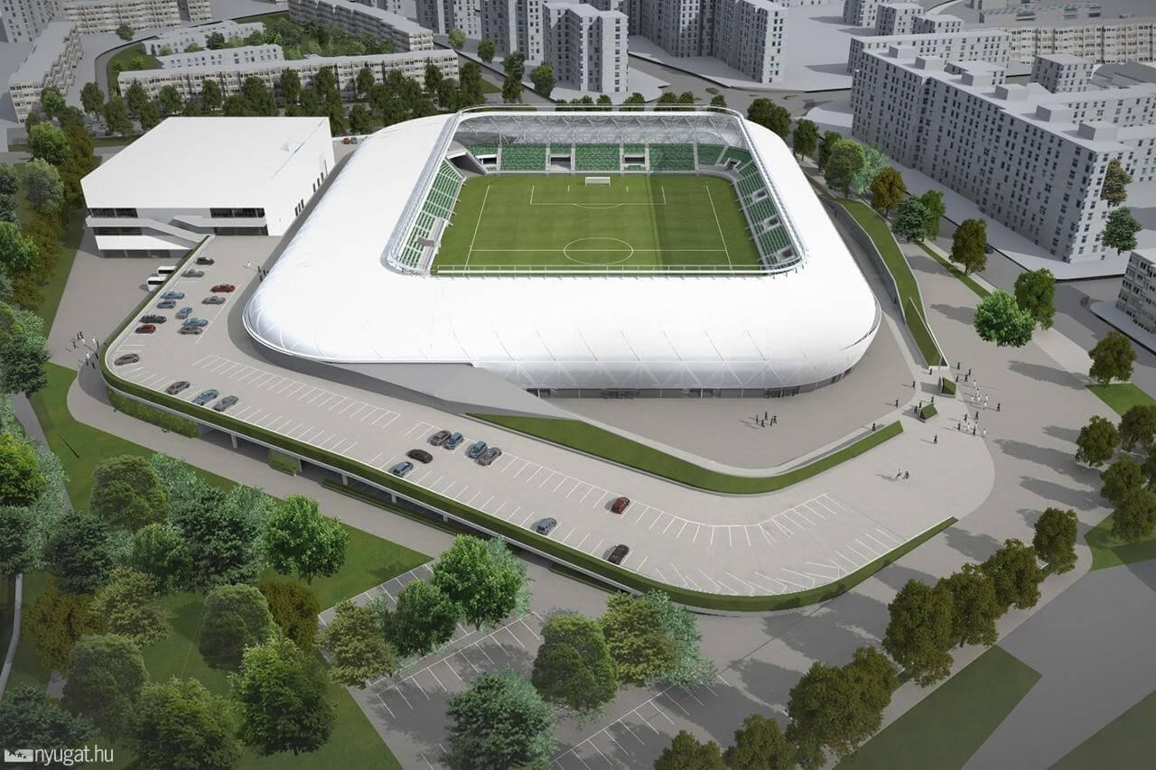 Már áll a szombathelyi stadion 450 tonnás acélszerkezete