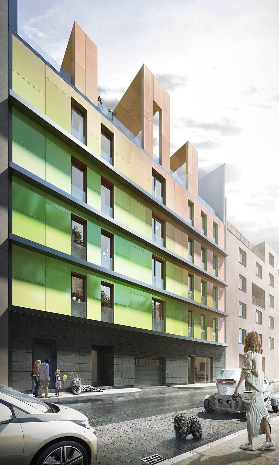 Színváltós homlokzattal épül a Józsefvárosban egy 35 lakásos társasház