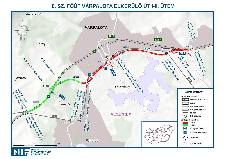 várpalota elkerülő út térkép Új körforgalom nyílt a négysávosodó 8 as úton | Magyar Építők