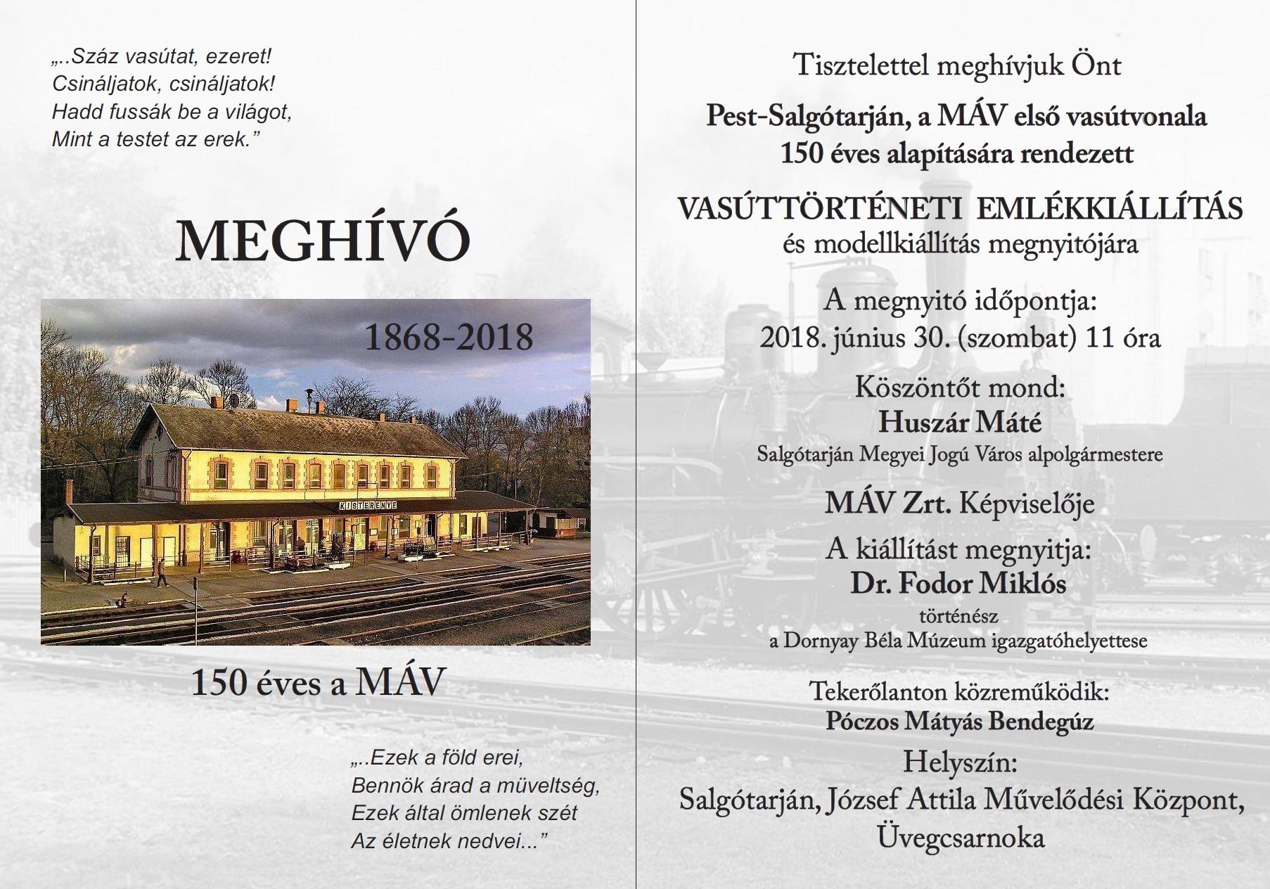 Kiállítás nyílik a 150 éves a Pest-Salgótarján vasútról