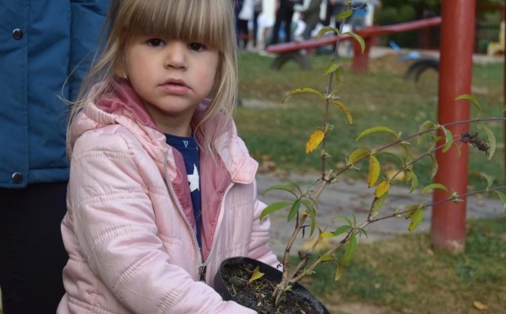 Virágokat és fát ültettek a dombóvári gyerekek és szüleik